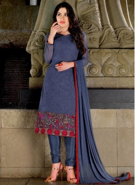 Faux Georgette Embroidered Work Churidar Punjabi Salwar Kameez