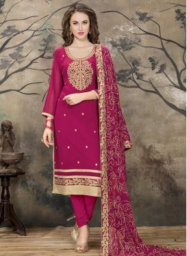 Faux Georgette Embroidered Work Churidar Salwar Kameez