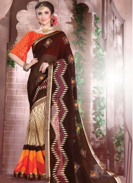 Faux Georgette Embroidered Work Coffee Brown and Cream Half N Half Trendy Saree