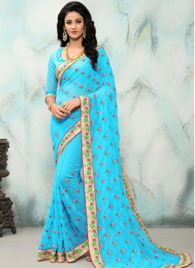 Faux Georgette Embroidered Work Contemporary Saree