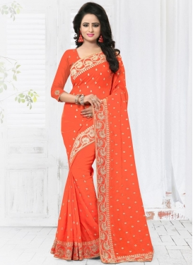 Faux Georgette Embroidered Work Contemporary Style Saree