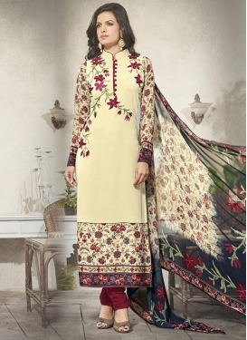 Faux Georgette Embroidered Work Cream and Crimson Trendy Pakistani Salwar Suit For Ceremonial