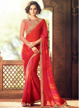 Faux Georgette Embroidered Work Designer Classic Saree