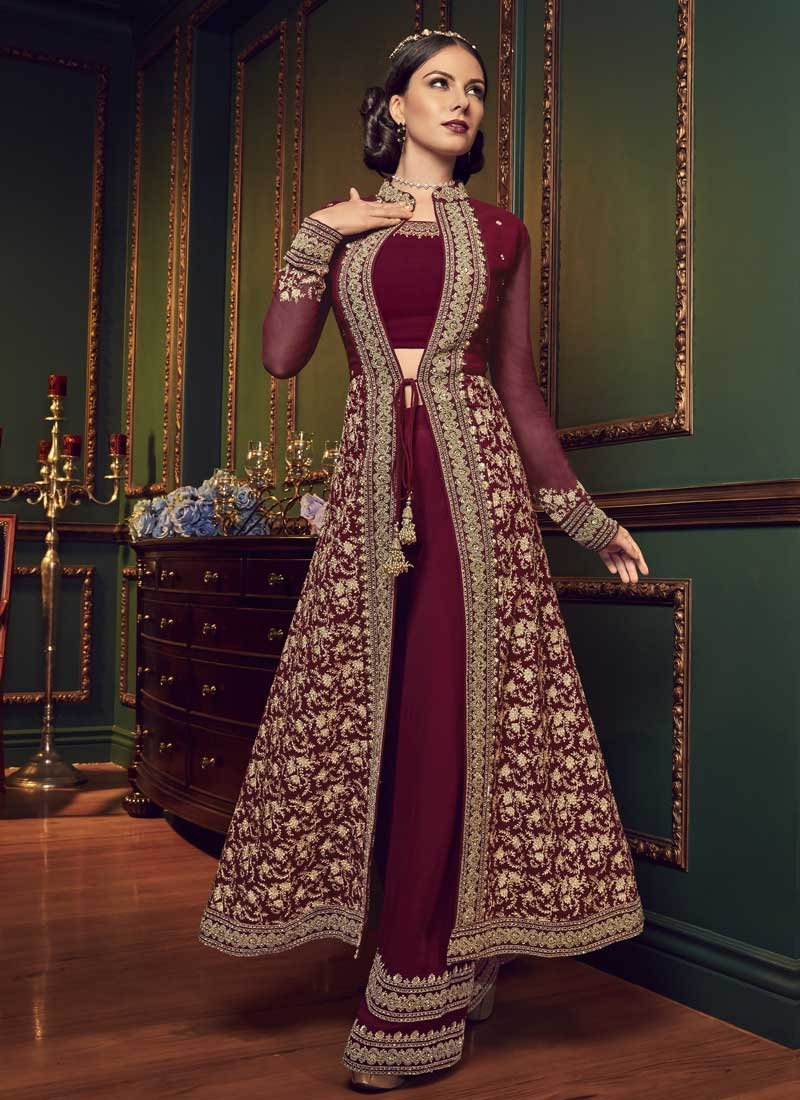 Faux Georgette Embroidered Work Designer Palazzo Salwar Kameez