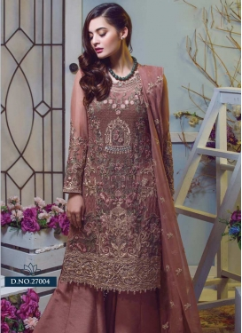Faux Georgette Embroidered Work Designer Palazzo Suit