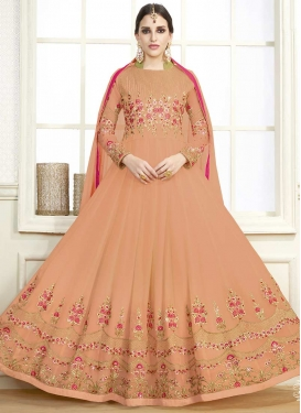 Faux Georgette Embroidered Work Flaring Anarkali Suit