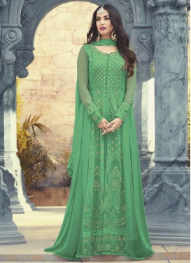Faux Georgette Embroidered Work Floor Length Designer Salwar Suit
