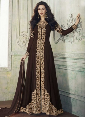 Faux Georgette Embroidered Work Floor Length Designer Suit