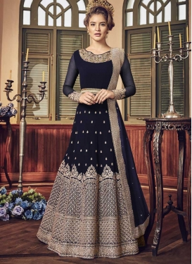 Faux Georgette Embroidered Work Long Length Anarkali Salwar Suit