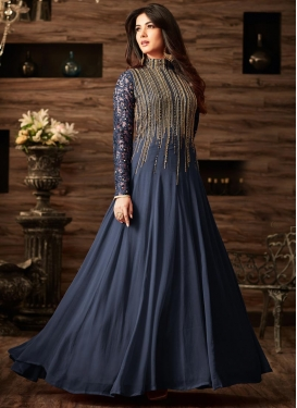 Faux Georgette Embroidered Work Long Length Designer Suit
