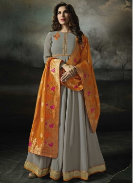 Faux Georgette Embroidered Work Long Length Trendy Anarkali Suit