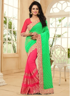Faux Georgette Embroidered Work Mint Green and Rose Pink Half N Half Designer Saree