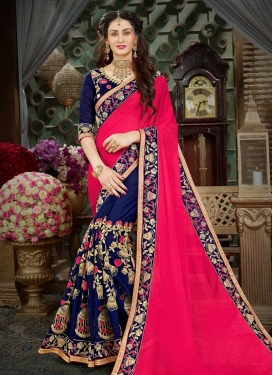 Faux Georgette Embroidered Work Navy Blue and Rose Pink Half N Half Designer Saree