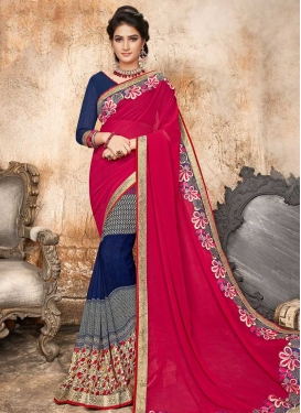 Faux Georgette Embroidered Work Navy Blue and Rose Pink Half N Half Trendy Saree
