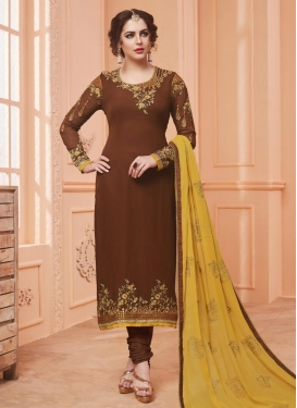 Faux Georgette Embroidered Work Pakistani Salwar Suit