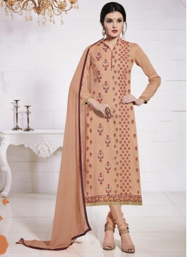Faux Georgette Embroidered Work Pakistani Straight Salwar Kameez