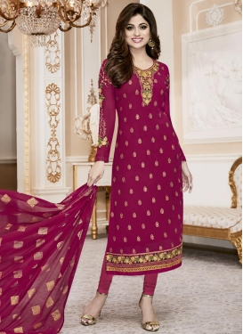 Faux Georgette Embroidered Work Pakistani Suit