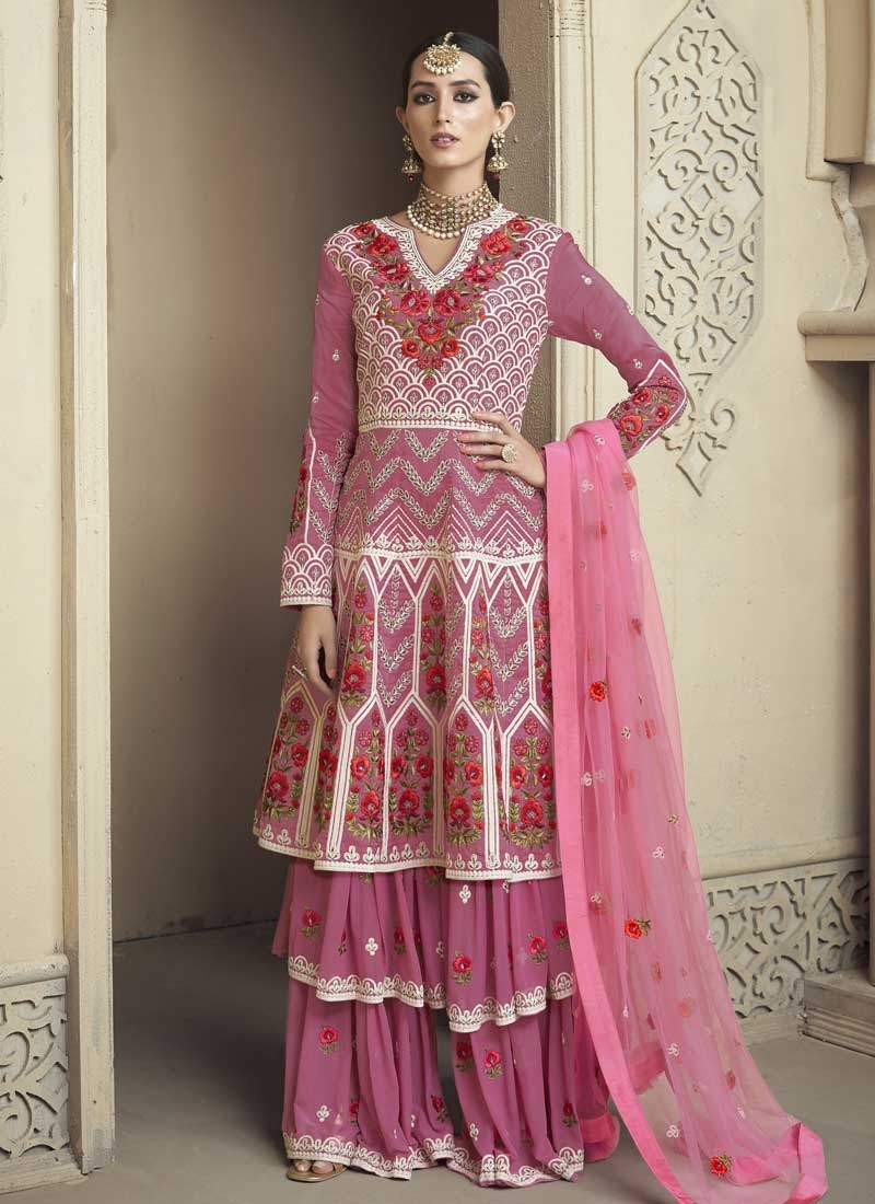 e60e5d004a Buy Faux Georgette Embroidered Work Palazzo Designer Salwar Kameez ...