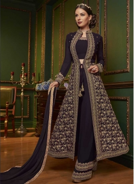 Faux Georgette Embroidered Work Palazzo Designer Salwar Suit