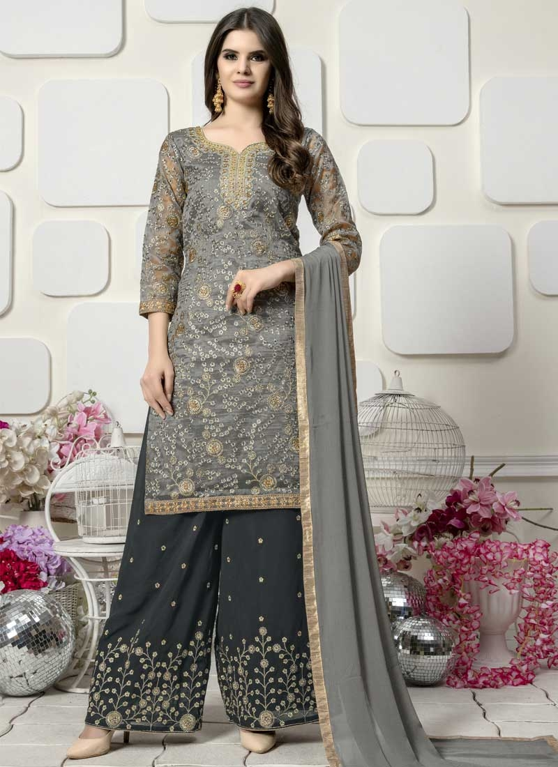 Faux Georgette Embroidered Work Palazzo Straight Salwar Kameez