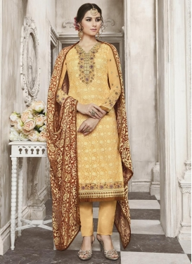 Faux Georgette Embroidered Work Pant Style Pakistani Salwar Kameez