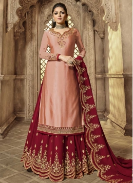 Faux Georgette Embroidered Work Peach and Red Kameez Style Lehenga Choli