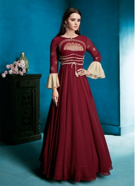 Faux Georgette Embroidered Work Readymade Classic Gown