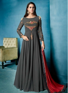 Faux Georgette Embroidered Work Readymade Long Length Gown