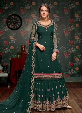 Faux Georgette Embroidered Work Sharara Salwar Kameez