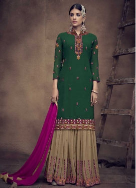 Faux Georgette Embroidered Work Sharara Salwar Suit