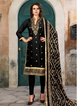 Faux Georgette Embroidered Work Straight Salwar Kameez