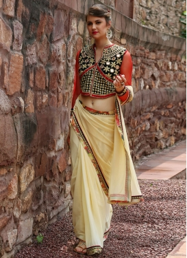Faux Georgette Embroidered Work Traditional Saree