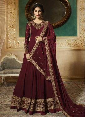 Faux Georgette Embroidered Work Trendy Anarkali Salwar Kameez