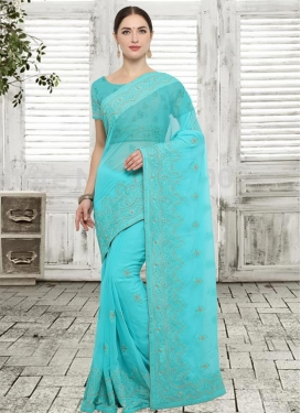 Faux Georgette Embroidered Work Trendy Classic Saree