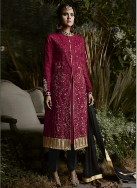 Faux Georgette Embroidered Work Trendy Designer Salwar Kameez