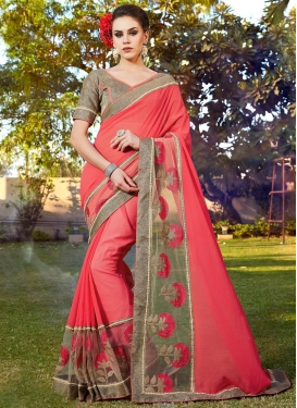 Faux Georgette Embroidered Work Trendy Designer Saree