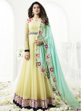 Faux Georgette Embroidered Work Trendy Salwar Suit
