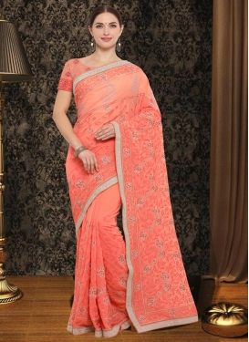 Faux Georgette Embroidered Work Trendy Saree