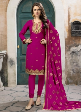 Faux Georgette Embroidered Work Trendy Straight Salwar Kameez
