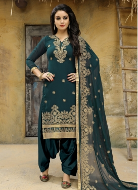 Faux Georgette Embroidered Work Trendy Straight Suit