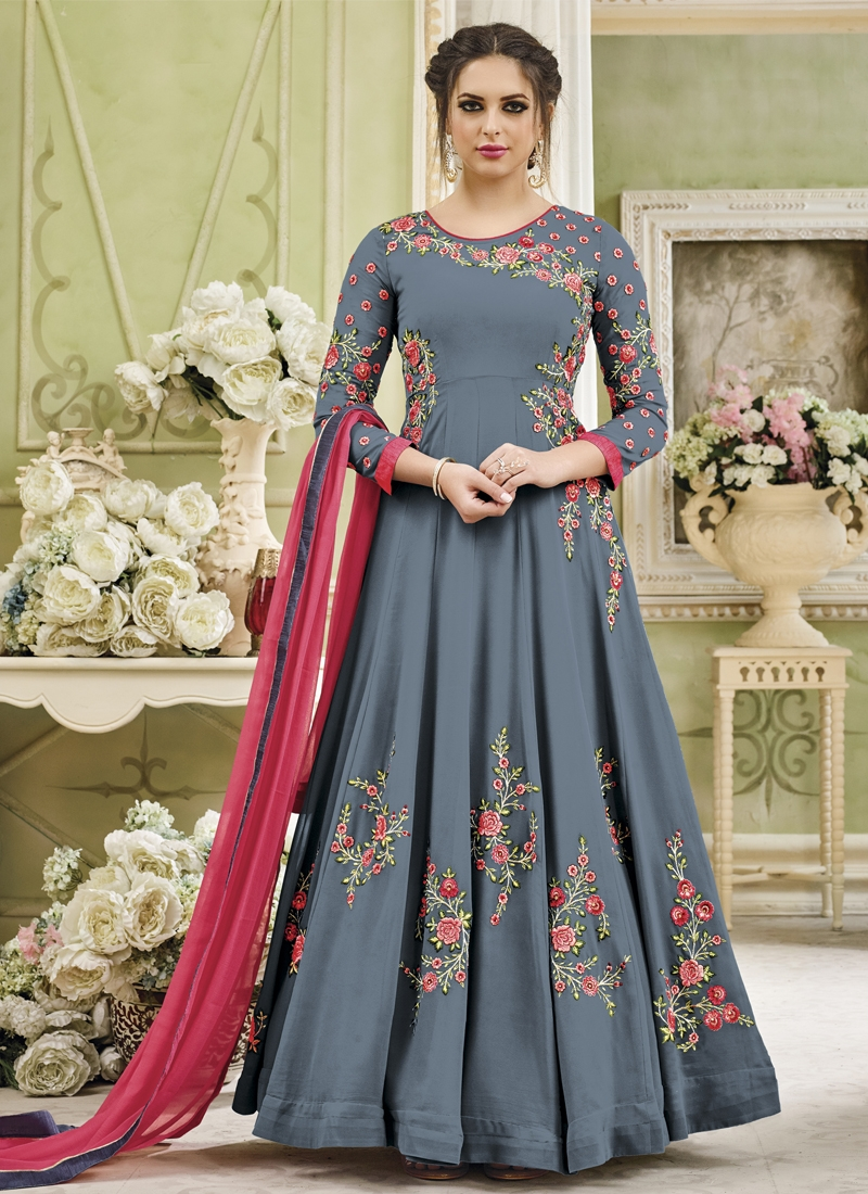 Faux Georgette Floor Length Anarkali Salwar Suit For Festival