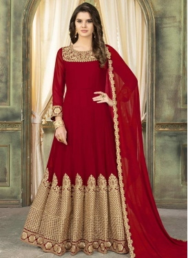 Faux Georgette Floor Length Anarkali Salwar Suit For Festival