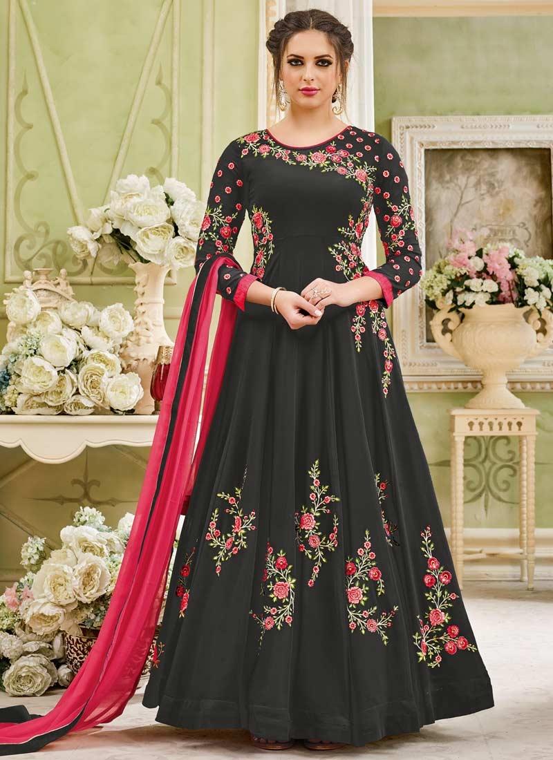 Faux Georgette Floor Length Kalidar Salwar Suit