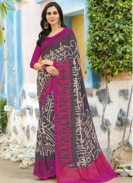 Faux Georgette Fuchsia and Grey Designer Contemporary Style Saree For Casual