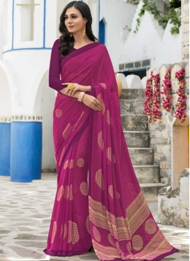 Faux Georgette Fuchsia and Magenta Print Work Traditional Designer Saree