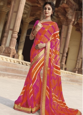 Faux Georgette Fuchsia and Orange Digital Print Work Designer Contemporary Style Saree