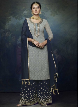 Faux Georgette Grey and Navy Blue Designer Palazzo Salwar Kameez