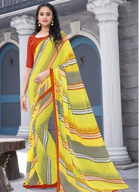 Faux Georgette Grey and Orange Strips Print Work Traditional Designer Saree