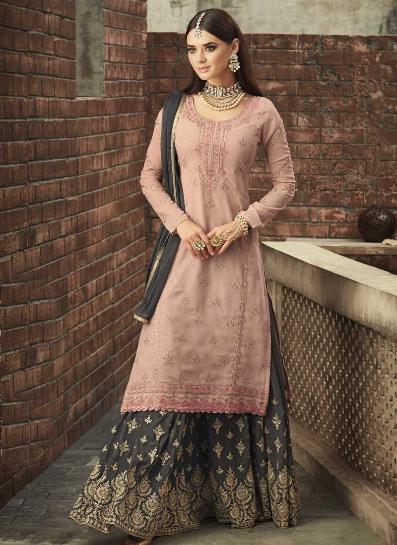 Faux Georgette Grey and Peach Embroidered Work Designer Palazzo Suit
