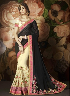 Faux Georgette Half N Half Trendy Saree For Ceremonial